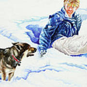 Snow Play Sadie And Andrew Art Print by Carolyn Coffey Wallace