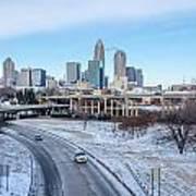 Snow Plowed Public Roads In Charlotte Nc Art Print