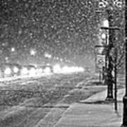 Snow Rush In Black And White Art Print