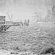 Snow Storm In Bass Harbor On Mount Desert Island Maine Art Print
