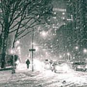 Snow Swirls At Night In New York City Art Print by Vivienne Gucwa