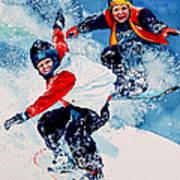 Snowboard Psyched Print by Hanne Lore Koehler