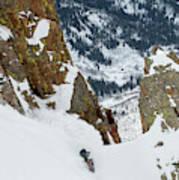 Snowboarder Doing A Slash Art Print
