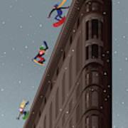 Snowboarders Fly Off The Flatiron Halfpipe Art Print
