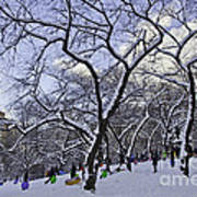 Snowboarders In Central Park Art Print