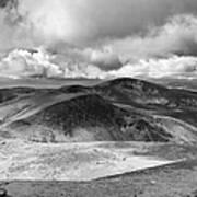 Snowdonia Panorama In Black And White Art Print by Jane Rix