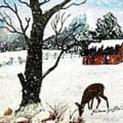 Snowfall And Visiting Doe Art Print