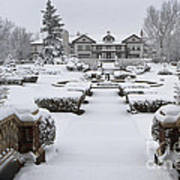 Snowfall At Longview Mansion Art Print