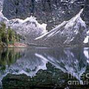 Snowfield Reflection On Blue Lake  Art Print
