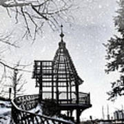 Snowing At The Gazebo Art Print