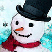 Snowman Christmas Art - Frosty Art Print