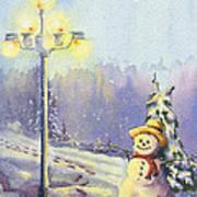 Snowman Enyoying The Light Art Print