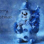 Snowman Merry Christmas Photo Art 01 Art Print