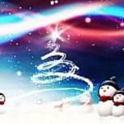 Snowman New Year Art Print