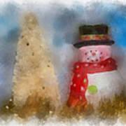 Snowman Photo Art 13 Art Print