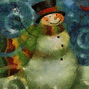 Snowman Photo Art 16 Art Print