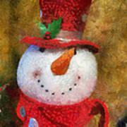 Snowman Photo Art 19 Art Print