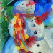 Snowman Photo Art 53 Art Print