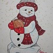 Snowman Playing Basketball Art Print