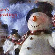 Snowman Season Greetings Photo Art 01 Art Print