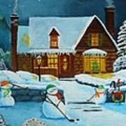 Snowmans Hockey Art Print