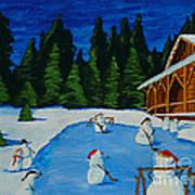 Snowmans Hockey Two Art Print