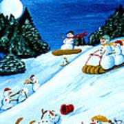 Snowmans Winter Sports Art Print