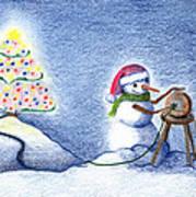 Snowman's X'mas Art Print