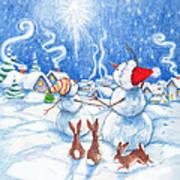 Snowmen And Christmas Star Art Print