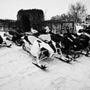 snowmobiles parked in Kamsack Saskatchewan Canada Art Print