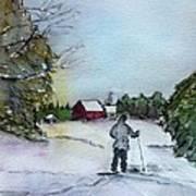 Snowshoeing In Northern Maine Art Print