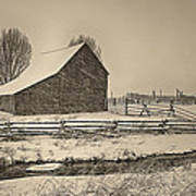 Snowstorm At The Ranch Sepia Art Print