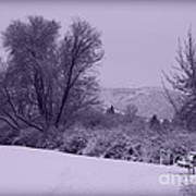 Snowy Bench In Purple Art Print