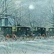 Snowy Carriages Art Print