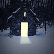 Snowy Chapel At Night Art Print