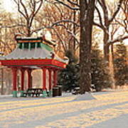 Snowy Chinese Shelter Art Print