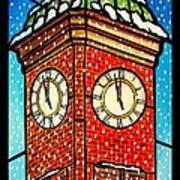 Snowy Clock Tower Art Print