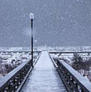 Snowy Day On The Boardwalk Art Print