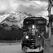 Snowy Engine Through The Rockies Art Print