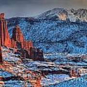 Snowy Fisher Towers Art Print