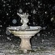 Snowy Fountain Art Print
