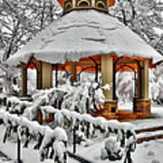 Snowy Gazebo - Greensboro North Carolina I Art Print by Dan Carmichael