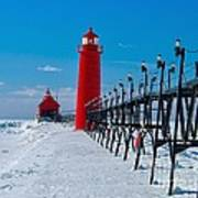 Snowy Grand Haven Pier Art Print