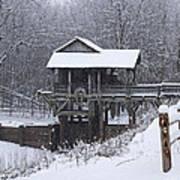 New Salem Grist Mill In The Snow Clr Art Print