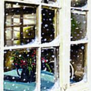 Snowy Inn Window Art Print