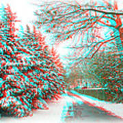 Snowy Lane - Use Red/cyan Filtered 3d Glasses Art Print