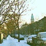 Snowy Montreal Winters City Scene Paintings Verdun Memories Church Across The Street Art Print