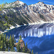 Snowy Mountains Reflected In Crater Lake Art Print