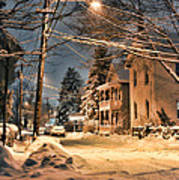 snowy night in Northampton Art Print by HD Connelly