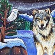 Snowy Night Wolf Art Print